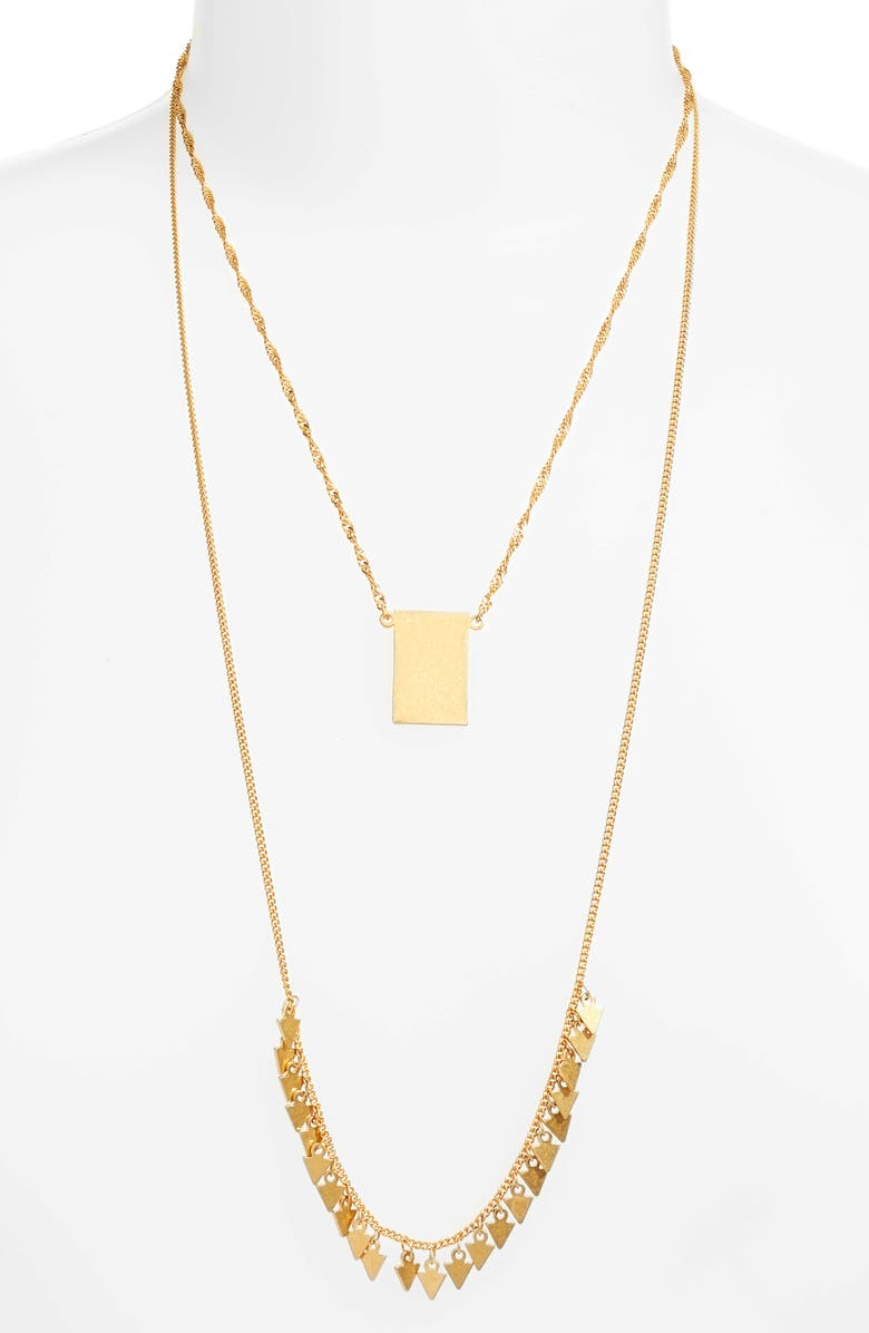 MADEWELL Dancing Arrow Layered Necklace, Main, color, 710