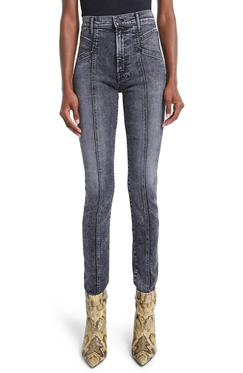 MOTHER The Swooner Seamed High Waist Skinny Jeans, Main, color, 001