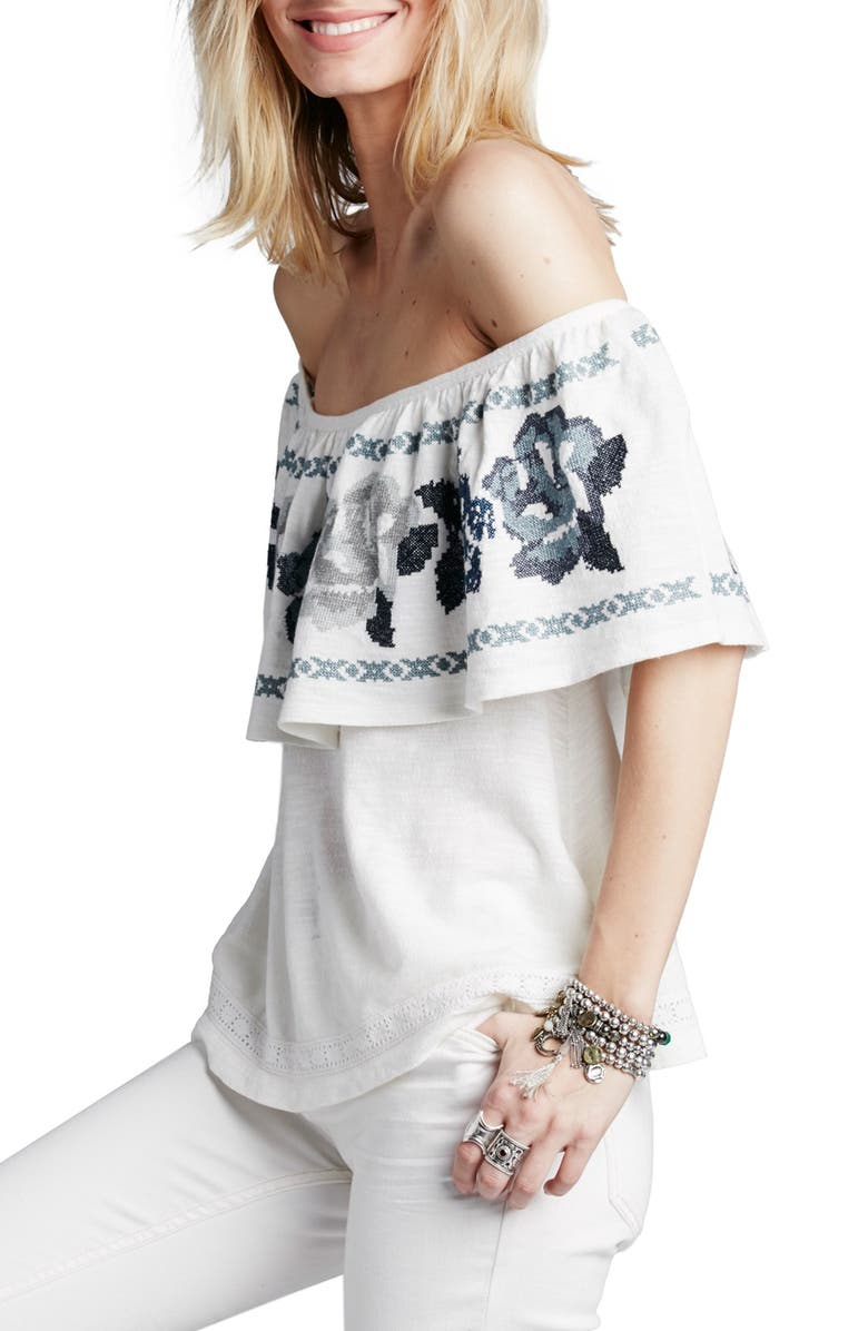 FREE PEOPLE 'To the Left' Embroidered Off the Shoulder Top, Main, color, 103