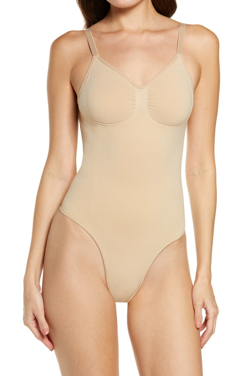 SKIMS Seamless Sculpt Low Back Thong Bodysuit, Main, color, CLAY
