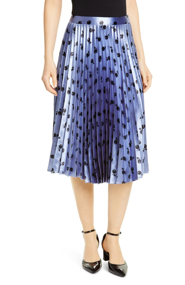 HVN Tracy Fruit Print Pleated Skirt, Main, color, 432