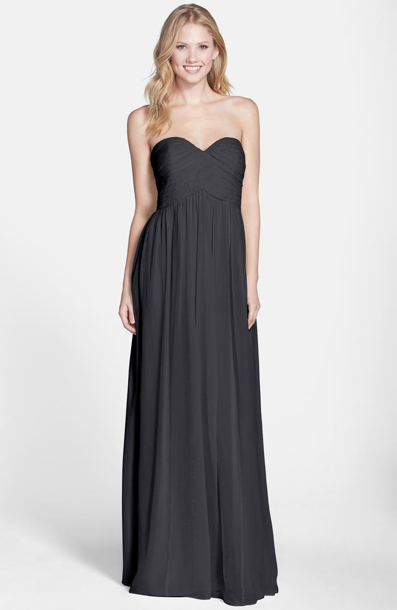 DONNA MORGAN 'Laura' Ruched Sweetheart Silk Chiffon Gown, Main, color, 001