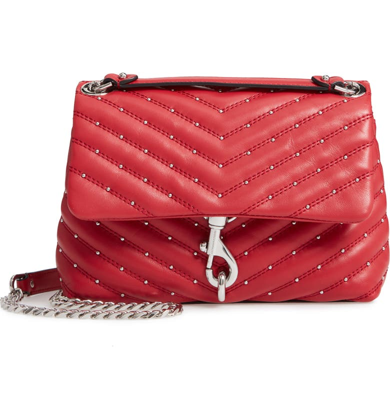 REBECCA MINKOFF Edie Quilted Leather Crossbody Bag, Main, color, SCARLET