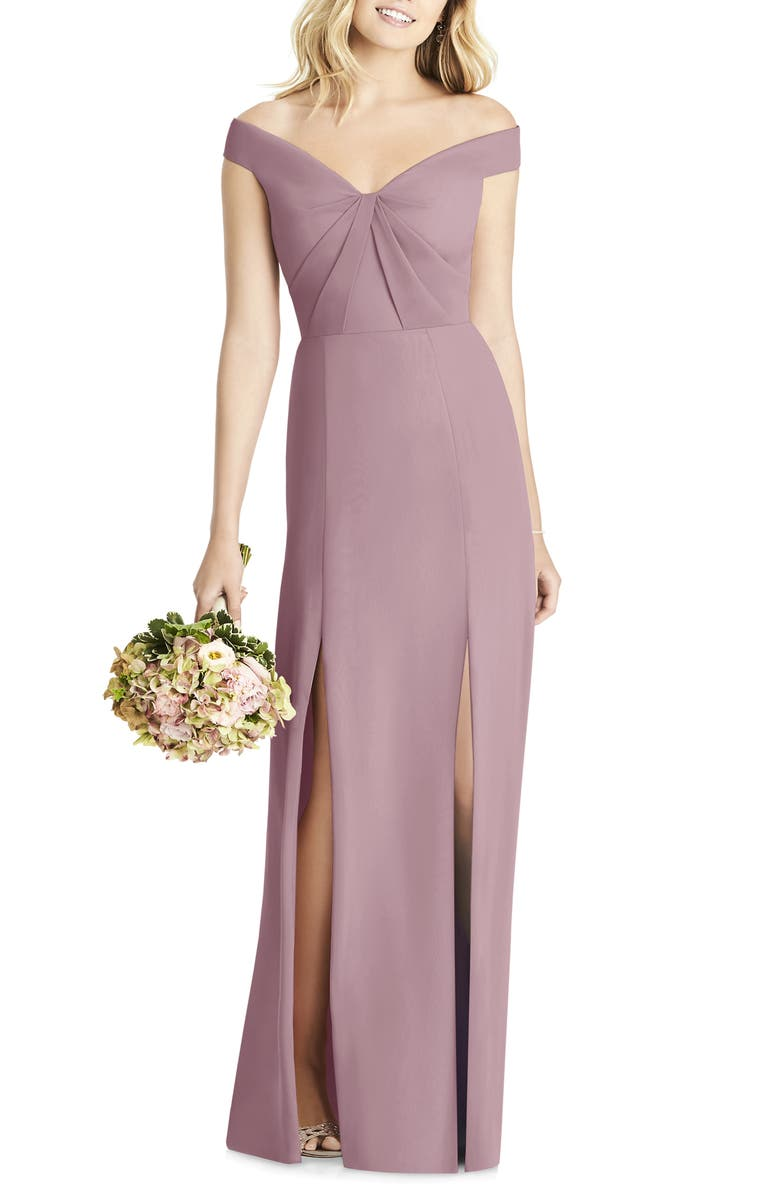 SOCIAL BRIDESMAIDS Off the Shoulder Chiffon A-Line Gown, Main, color, DUSTY ROSE