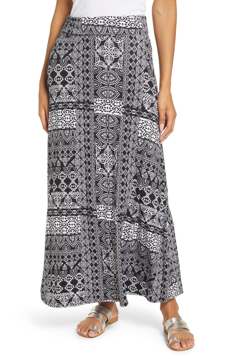 LOVEAPPELLA Patchwork Print Roll Top Maxi Skirt, Main, color, BLACK