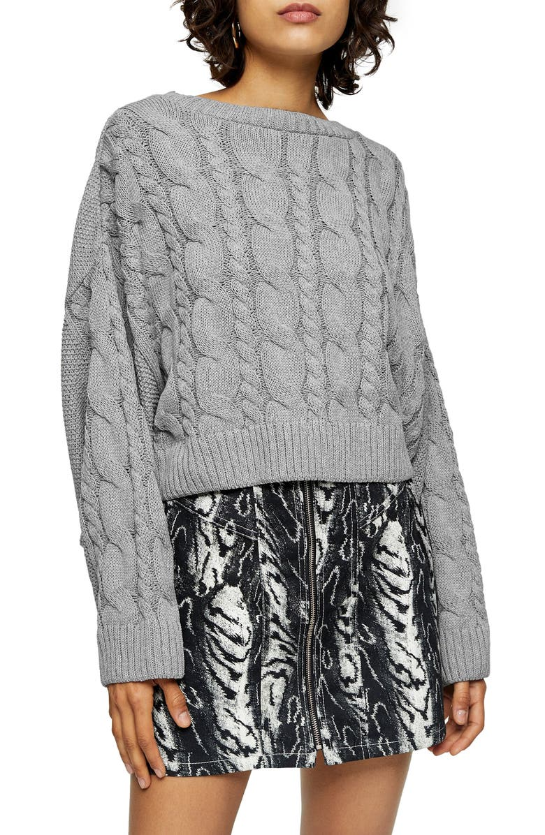 TOPSHOP Crop Batwing Sleeve Cable Sweater, Main, color, 020