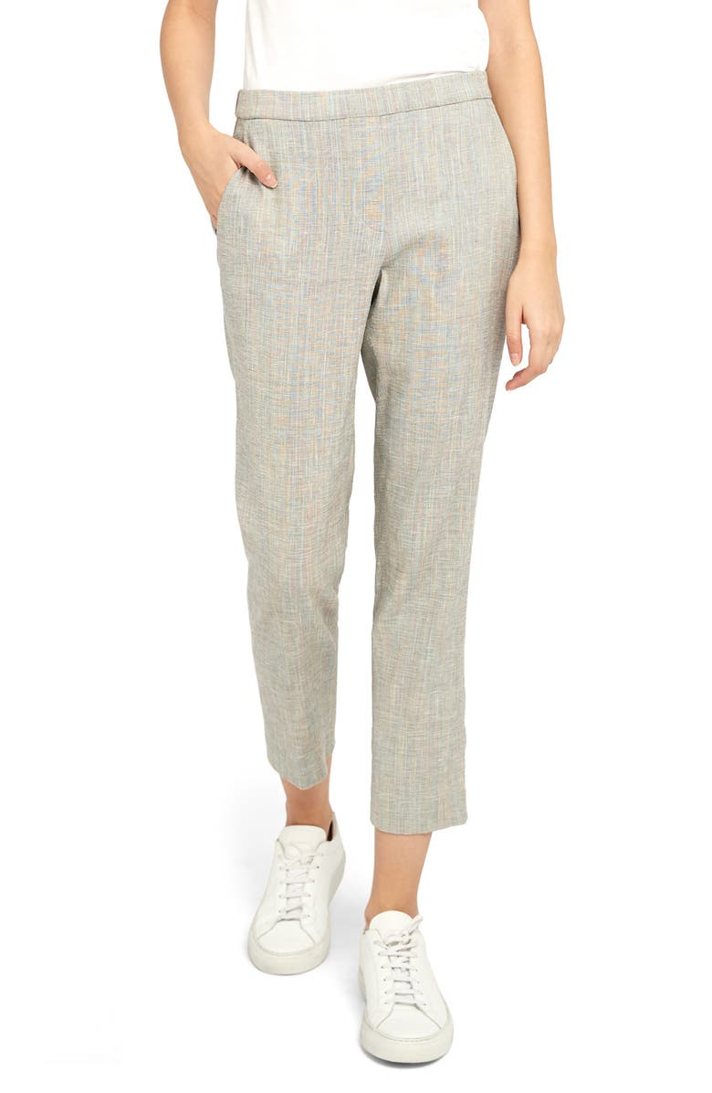 THEORY Treeca Pull-On Linen Blend Crop Trousers, Main, color, MULTI