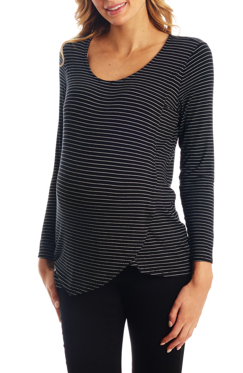 EVERLY GREY Adriana Stripe Long Sleeve Maternity/Nursing Tee, Main, color, BLACK STRIPE