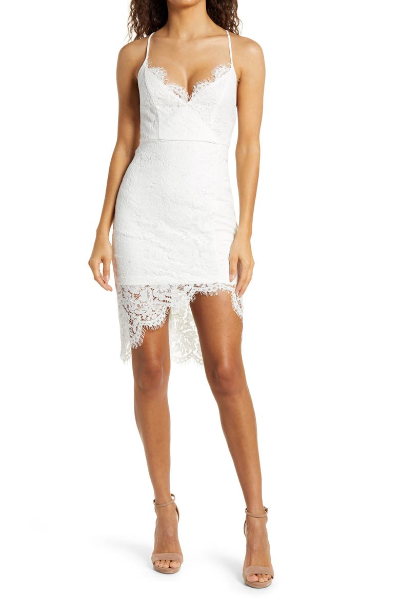 LULUS Flirting with Desire Floral Lace Cocktail Dress, Main, color, WHITE