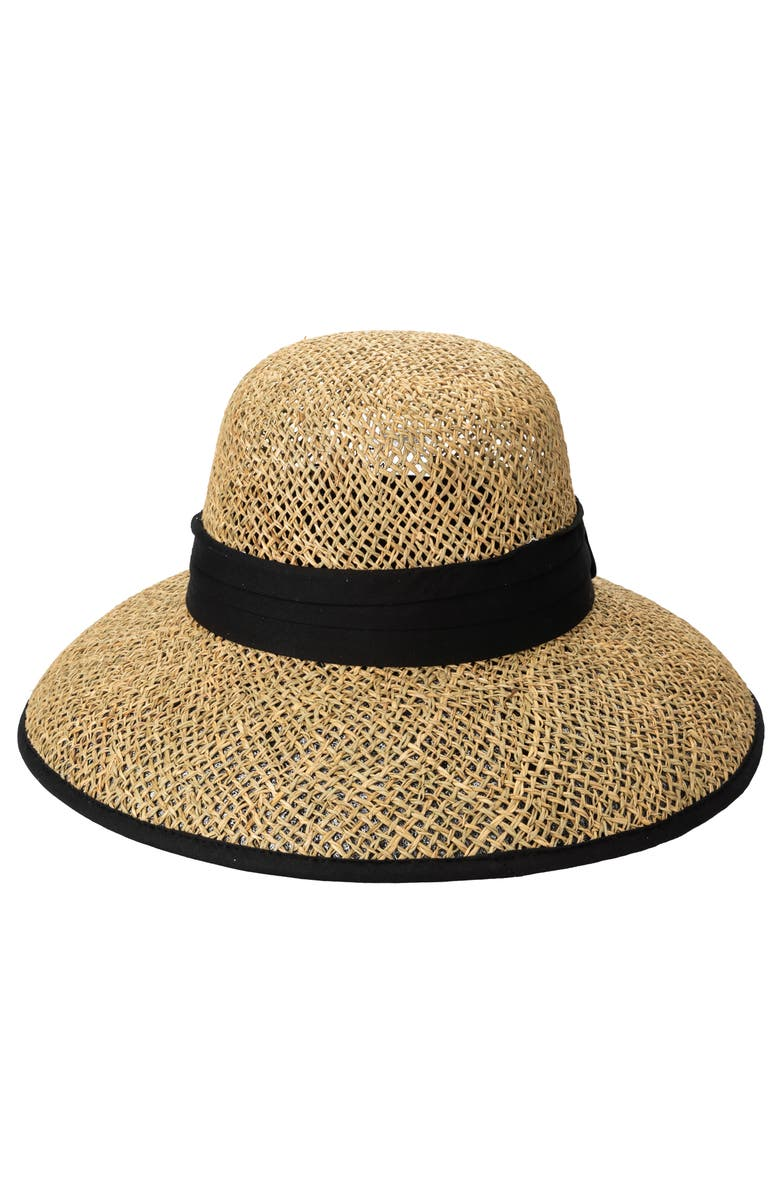 SAN DIEGO HAT Twisted Weave Cloche, Main, color, NATURAL/ BLACK