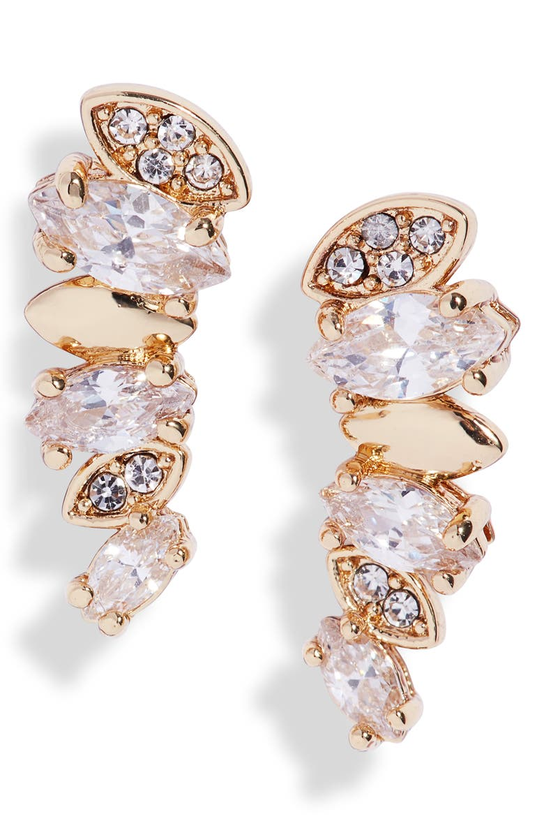 NORDSTROM Pavé & Marquise Cubic Zirconia Ear Crawlers, Main, color, CLEAR- GOLD