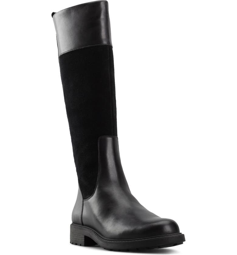 CLARKS<SUP>®</SUP> Orinoco 2 Waterproof Riding Boot, Main, color, BLACK LEATHER