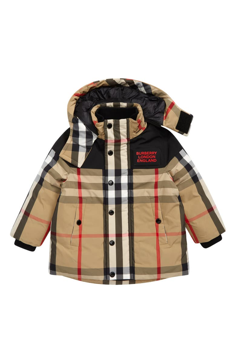 BURBERRY Kids' Chrissy Check Down Jacket with Detachable Hood, Main, color, ARCHIVE BEIGE IP CHK