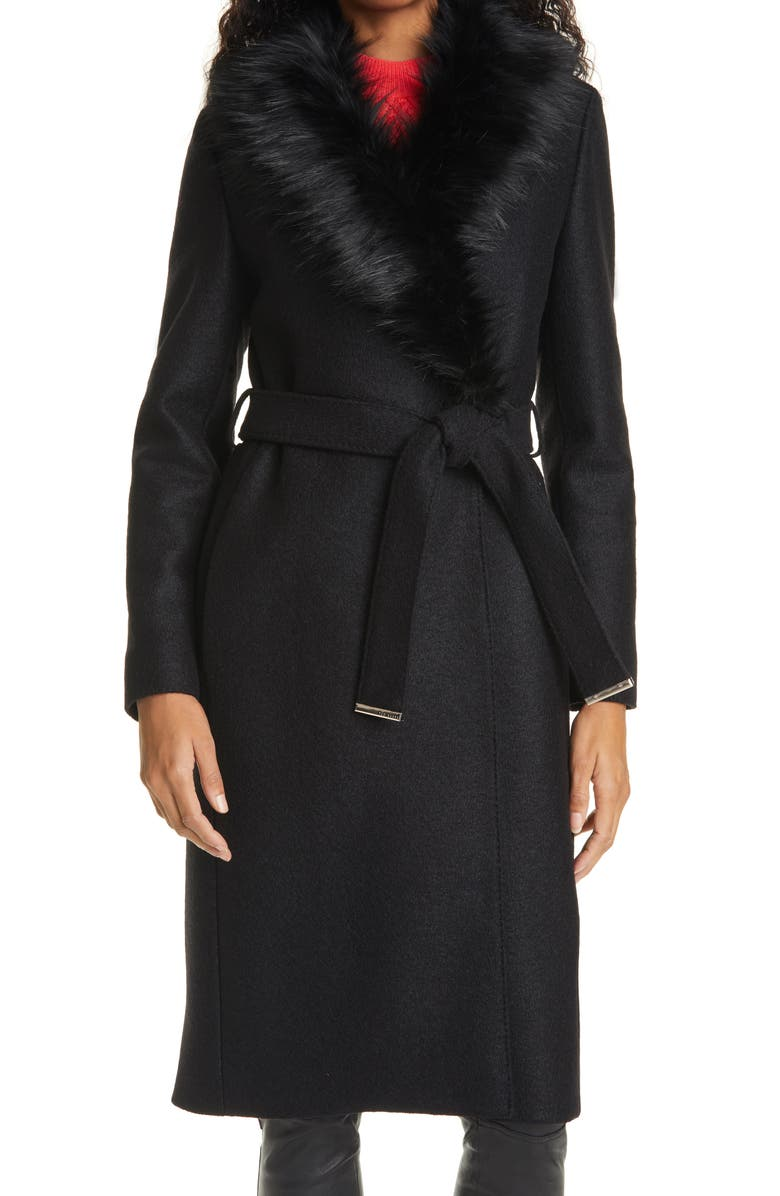 TED BAKER LONDON Corinna Wool Coat with Faux Fur Collar, Main, color, BLACK