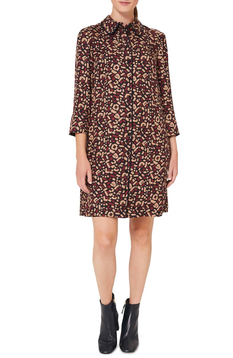 HOBBS Aubery Abstract Print Shirtdress, Main, color, NAVY CAMEL MERLOT
