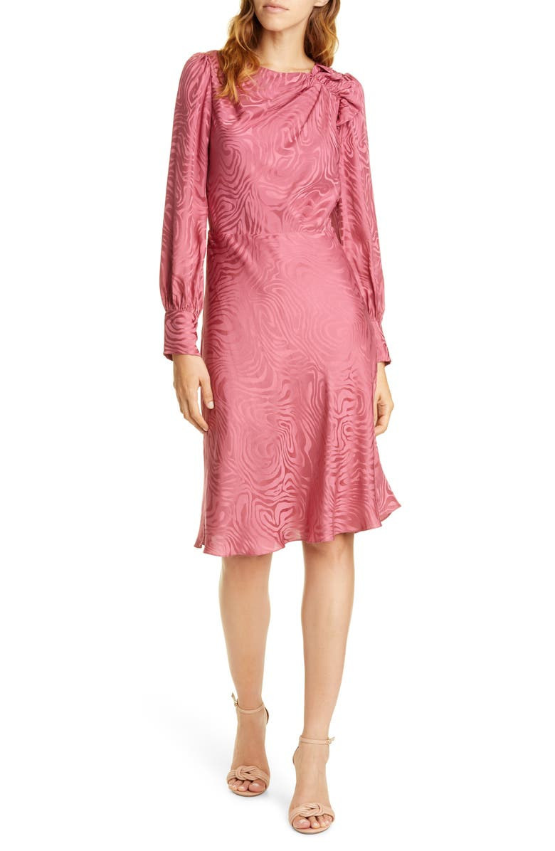 REBECCA TAYLOR Swirl Jacquard Long Sleeve Silk Blend Dress, Main, color, 652