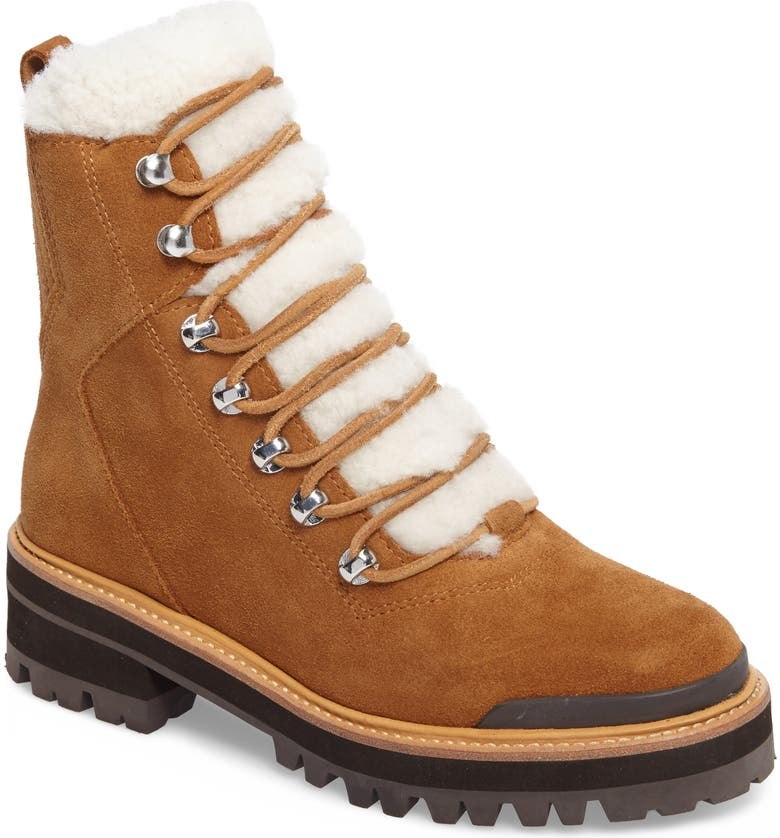 MARC FISHER LTD Izzie Genuine Shearling Lace-Up Boot, Main, color, COGNAC SUEDE