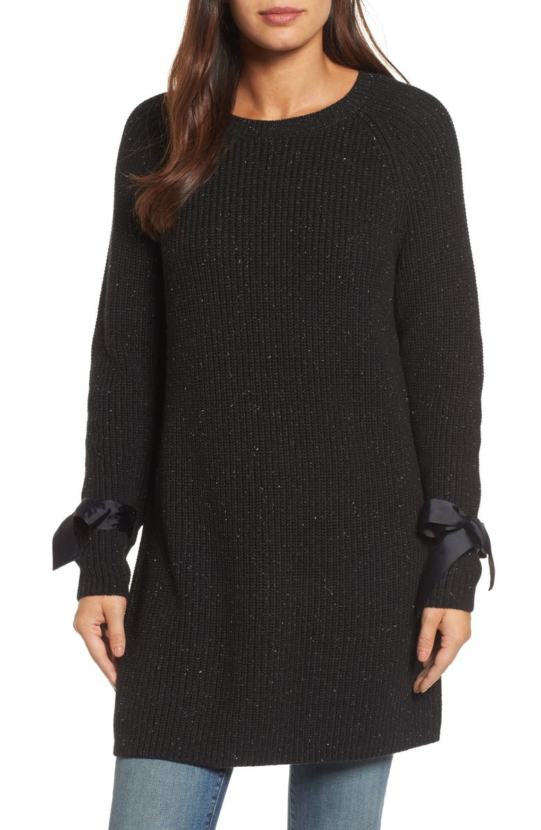 HALOGEN<SUP>®</SUP> Bow Sleeve Tunic, Main, color, BLACK NEP PATTERN