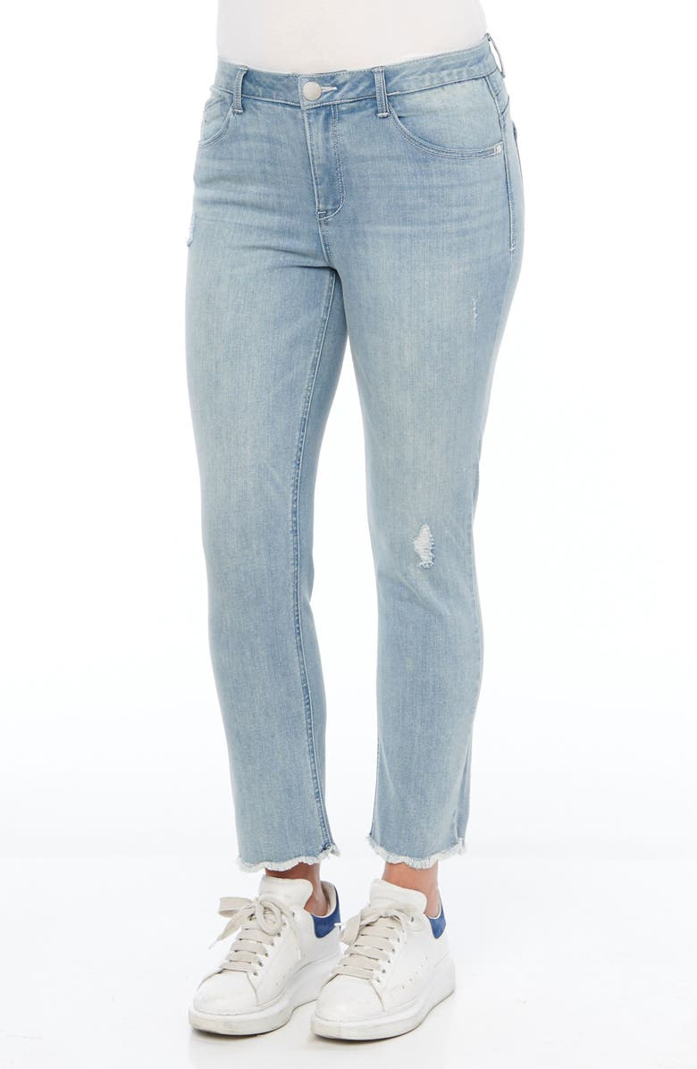 WIT & WISDOM Ab-Solution Distressed High Waist Ankle Straight Leg Jeans, Main, color, LIGHT BLUE