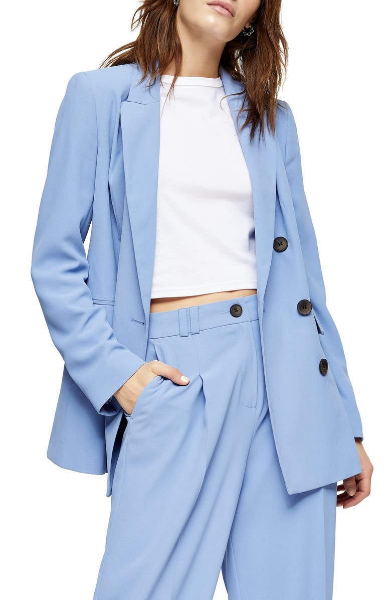 TOPSHOP Double Breasted Suit Jacket, Main, color, 400