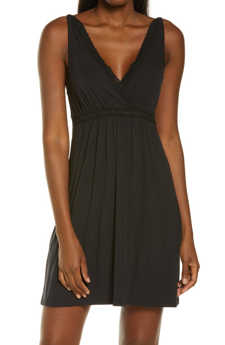 BAREFOOT DREAMS<SUP>®</SUP> Luxe Jersey Chemise, Main, color, BLACK