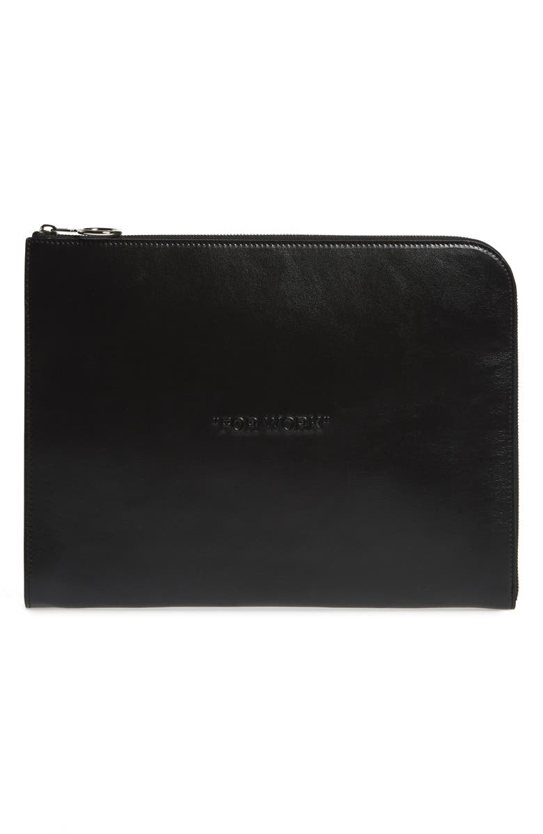 OFF-WHITE Bold Quote Document Case, Main, color, 001