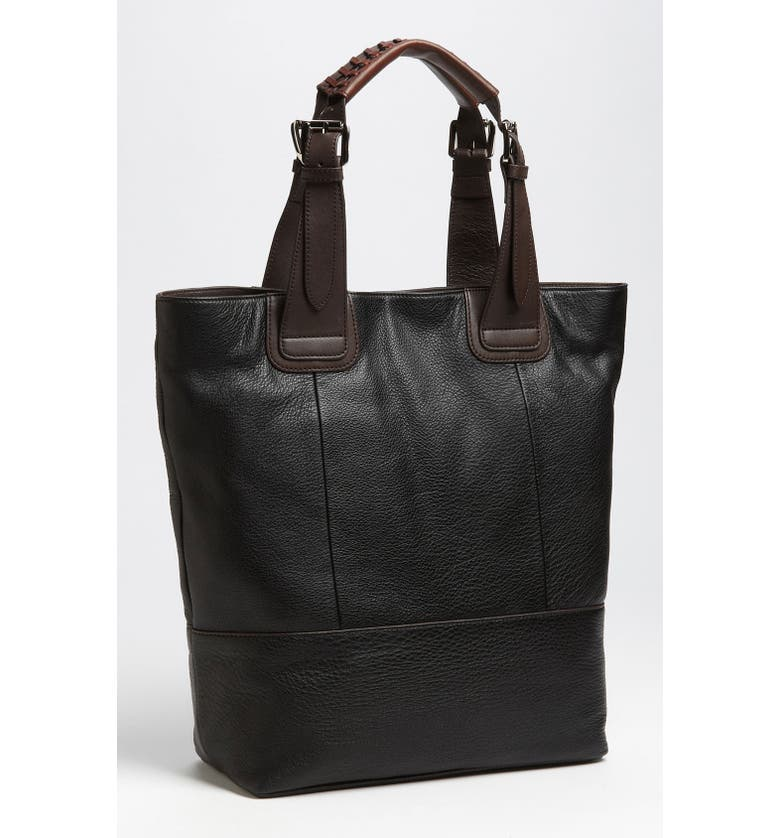 STEVEN BY STEVE MADDEN Leather Tote, Main, color, Black
