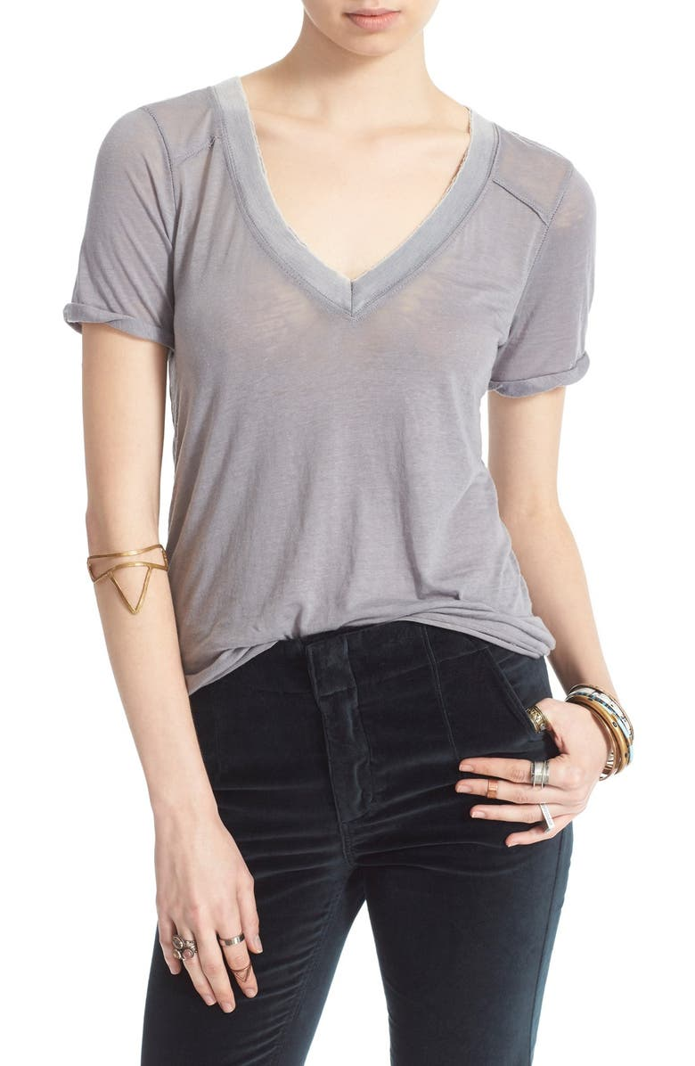 FREE PEOPLE 'Pearls' Raw Edge V-Neck Tee, Main, color, 030