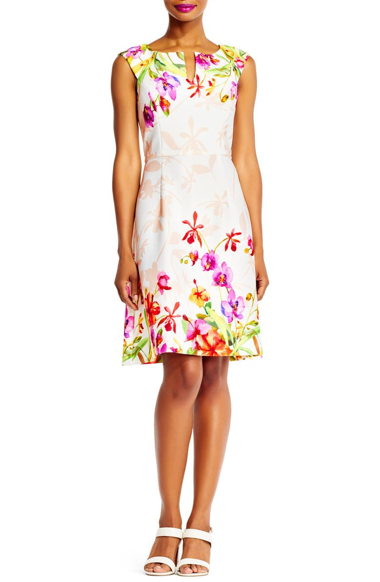 ADRIANNA PAPELL Floral Fit & Flare Dress, Main, color, 904