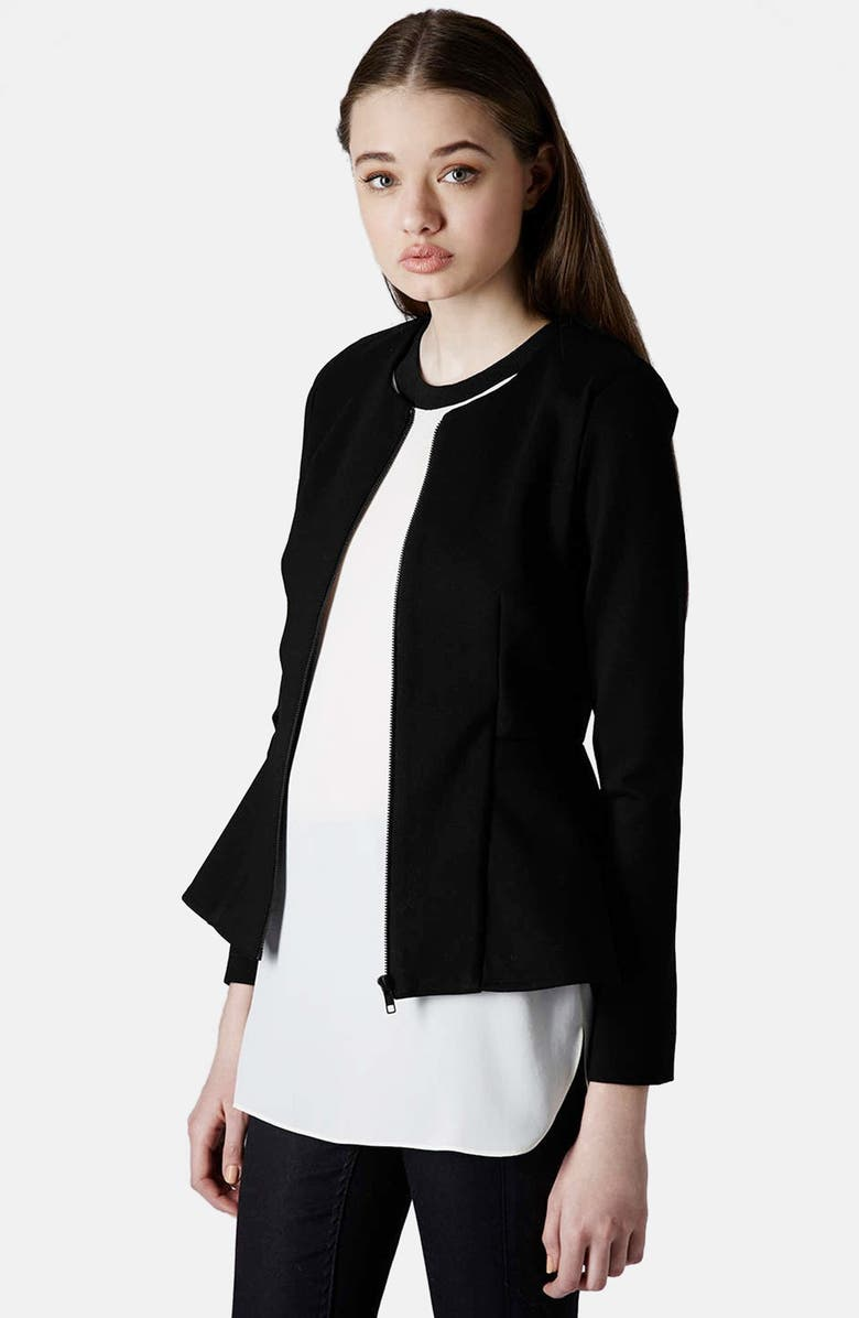 TOPSHOP Tailored Peplum Jacket, Main, color, 001