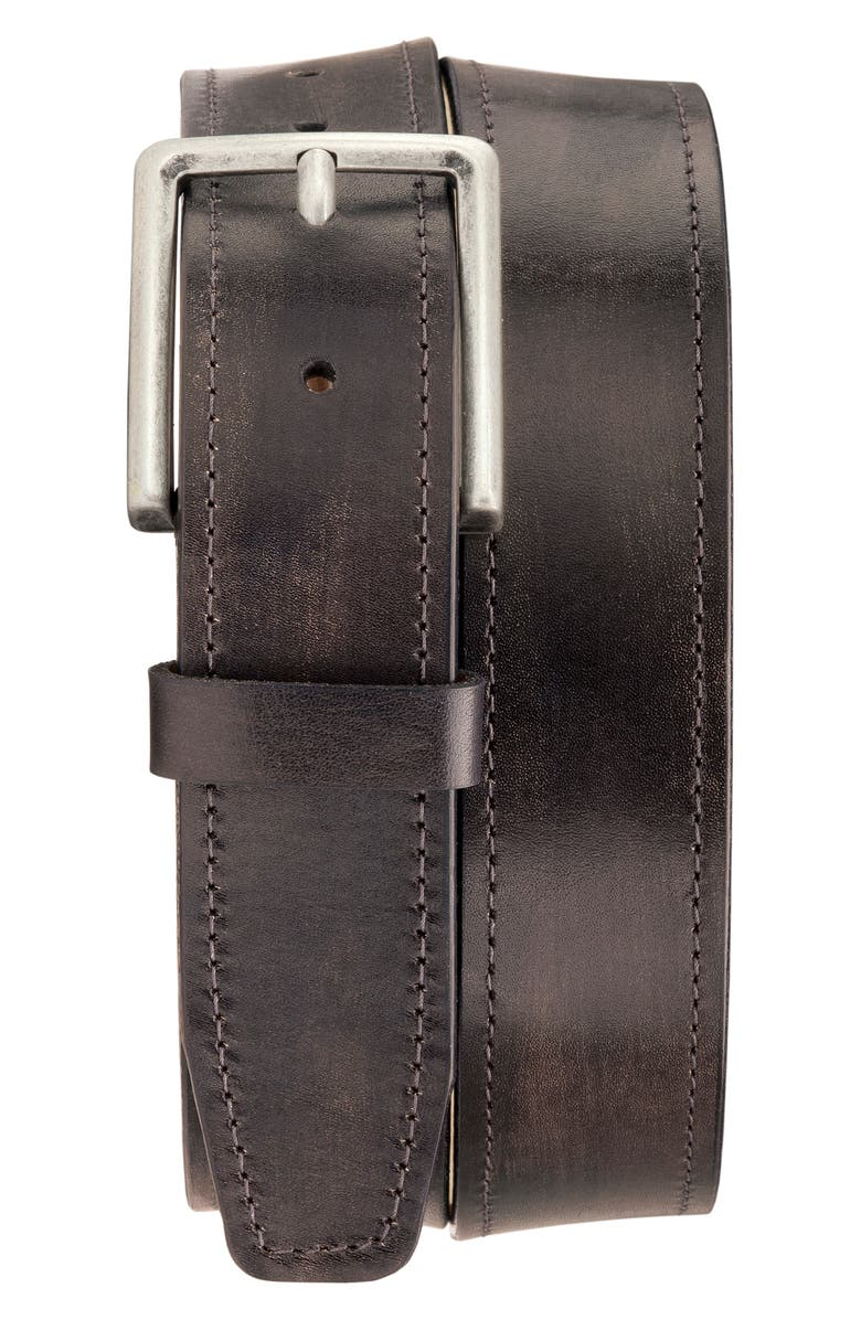 TRASK Keystone Leather Belt, Main, color, CHARCOAL ITALIAN STAINED CALF