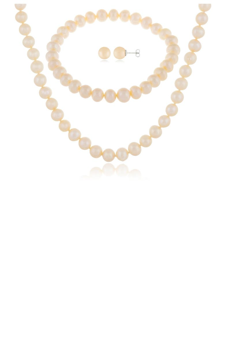 SPLENDID PEARLS 7-8mm Natural White Cultured Freshwater Pearl 3-Piece Earring Necklace & Bracelet Set, Main, color, WHITE