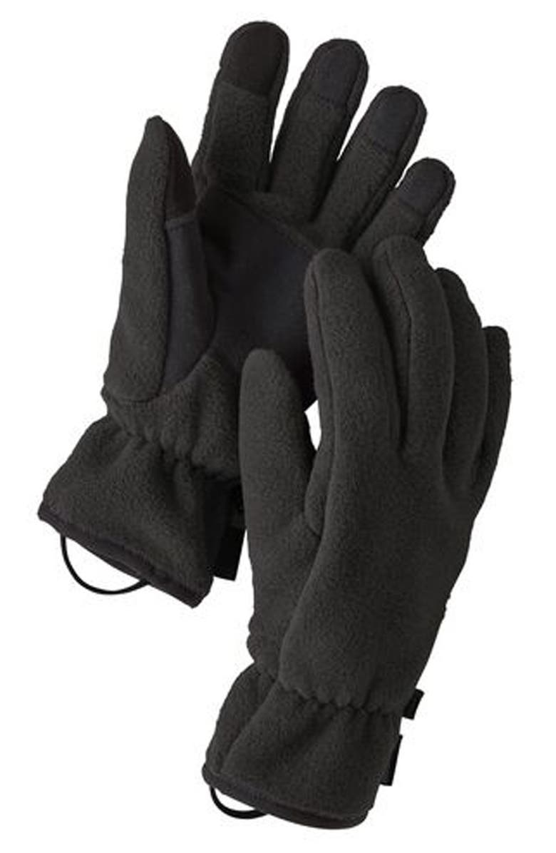 PATAGONIA Synchilla Recycled Fleece Gloves, Main, color, Black