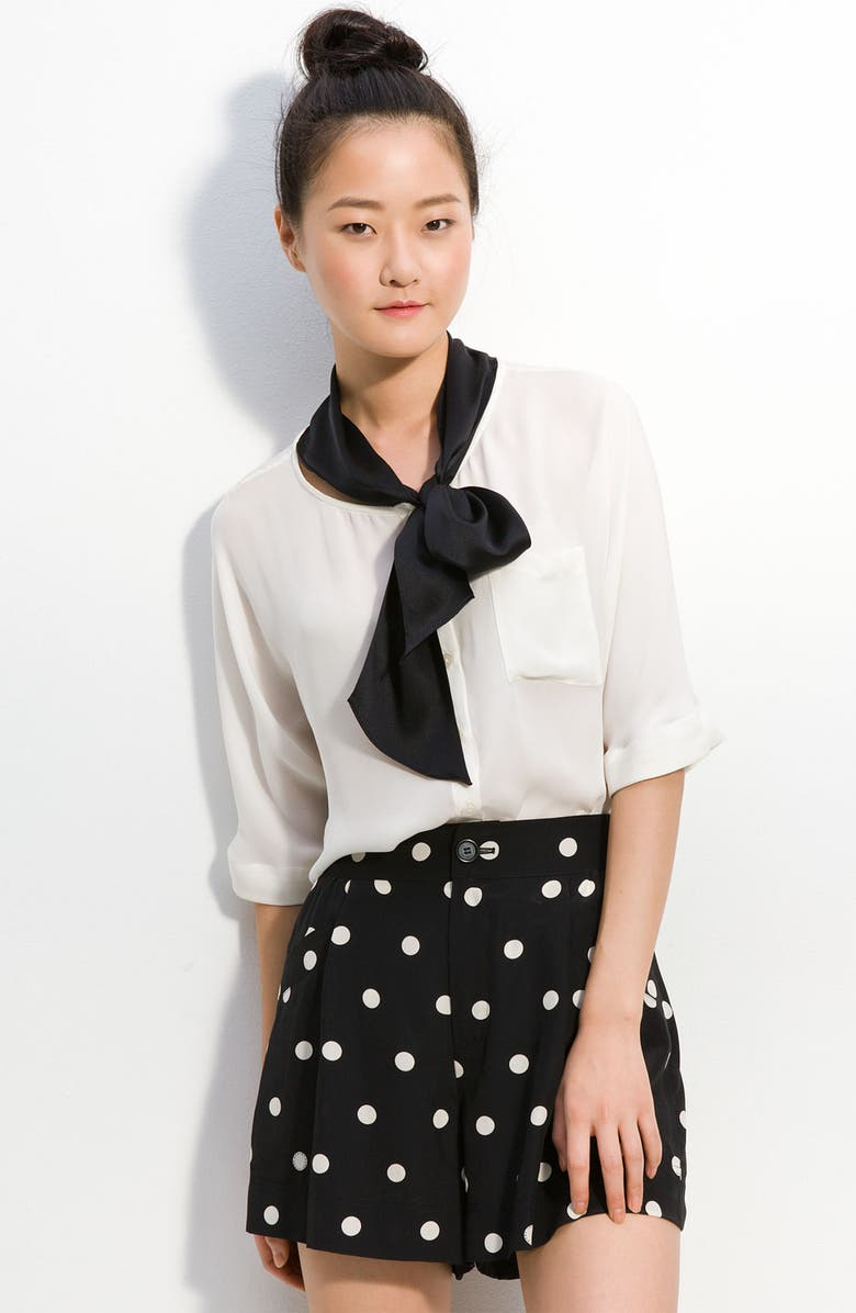 MARC BY MARC JACOBS 'Marina' Silk Blouse With Neck Tie, Main, color, 125