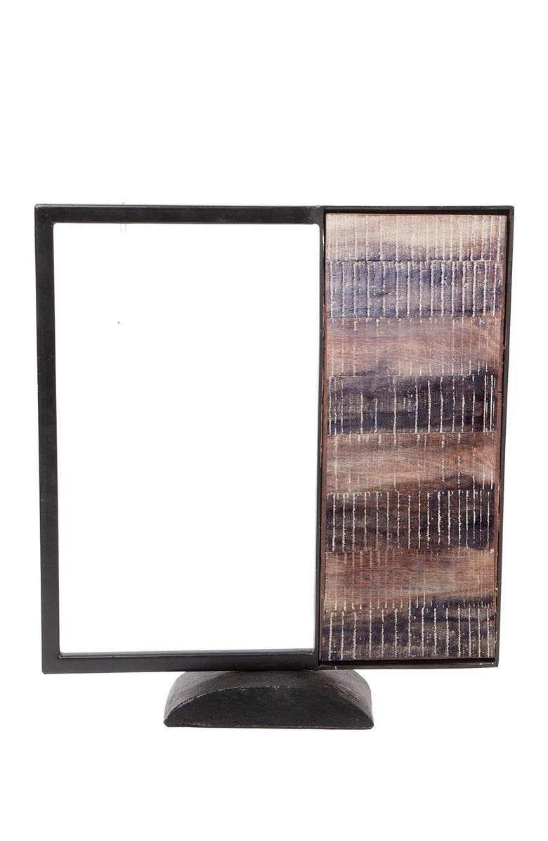 """HOME ESSENTIALS AND BEYOND 13""""H Square Black Metal Wood Object, Main, color, NO COLOR"""
