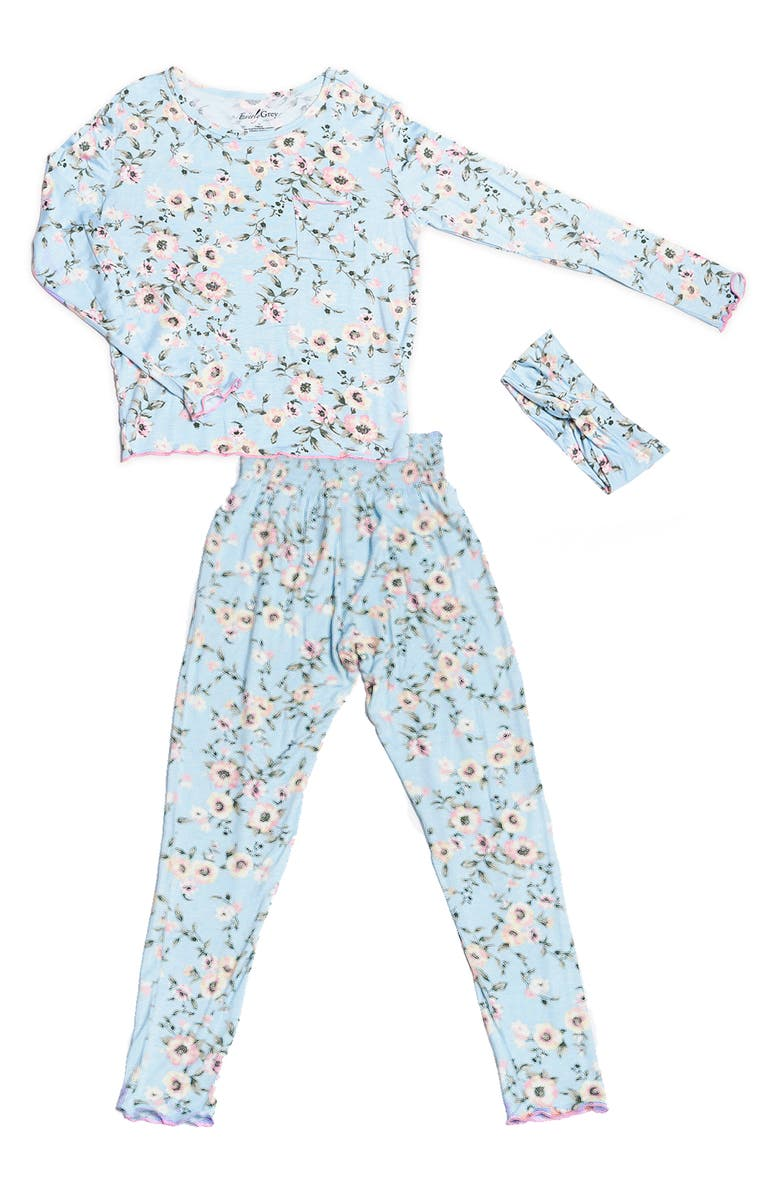 BABY GREY BY EVERLY GREY Charlie Fitted Two-Piece Pajamas & Head Wrap Set, Main, color, CLOUD BLUE