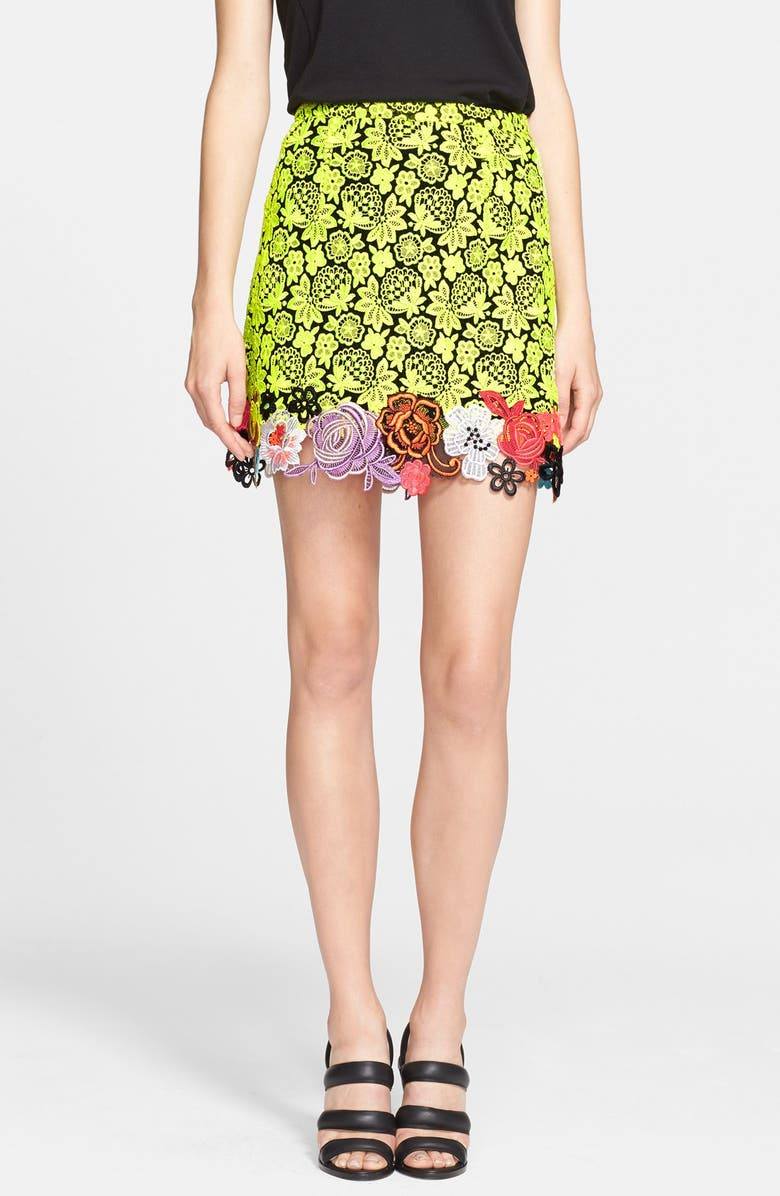 CHRISTOPHER KANE Embroidered Floral Lace Skirt, Main, color, 730