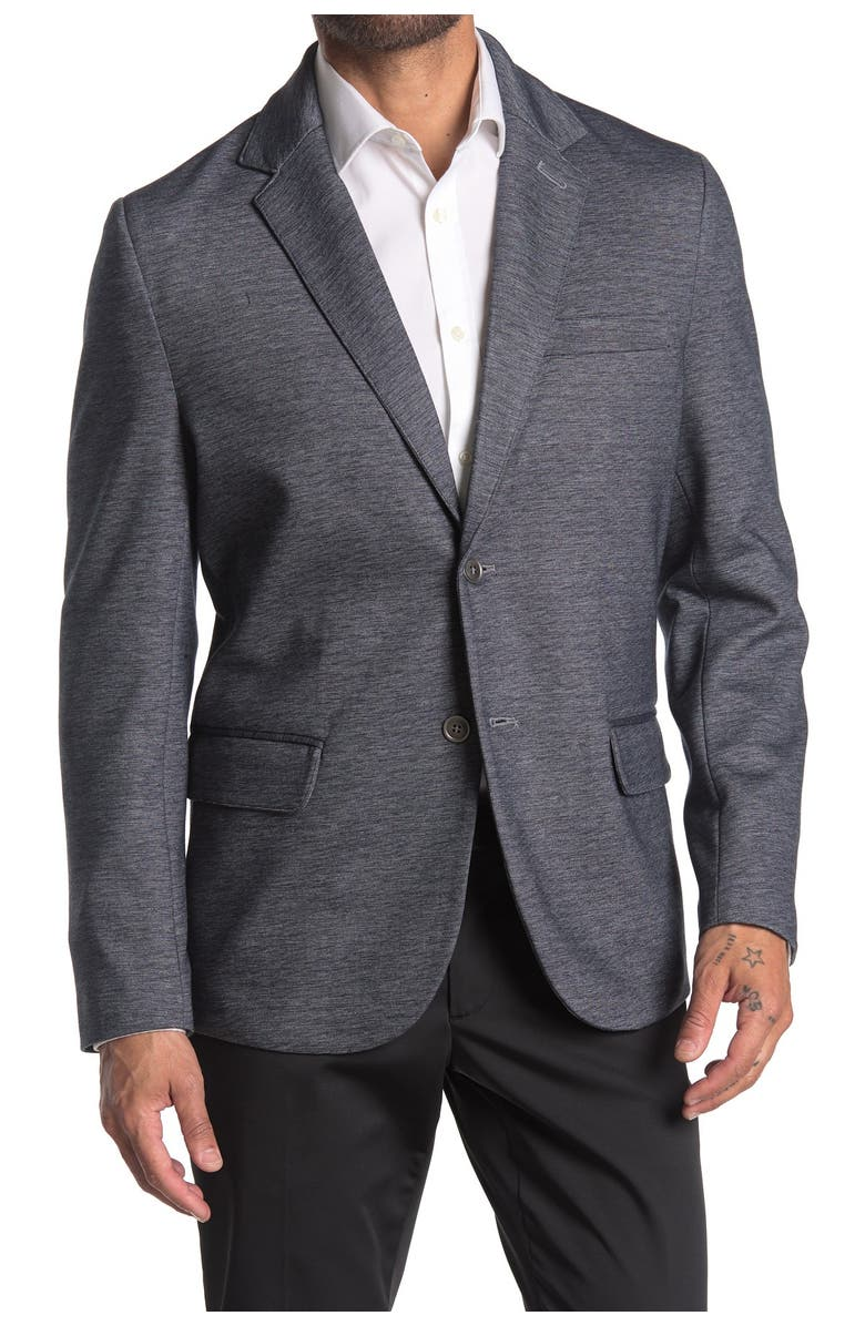CONSTRUCT Grey Heathered Two Button Notch Lapel Slim Fit Blazer, Main, color, GREY