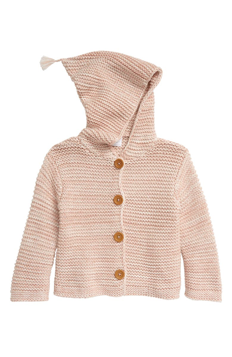 NORDSTROM Baby Organic Cotton Hooded Cardigan, Main, color, PINK MISTY HEATHER