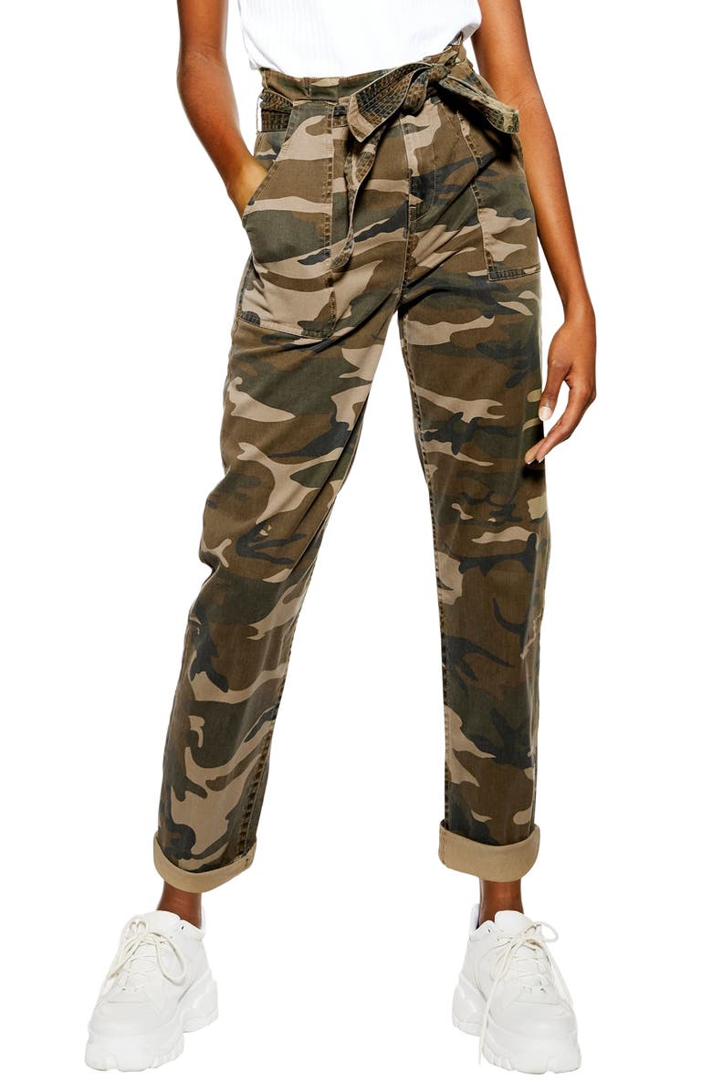 TOPSHOP Camouflage Paperbag Waist Utility Trousers, Main, color, 300