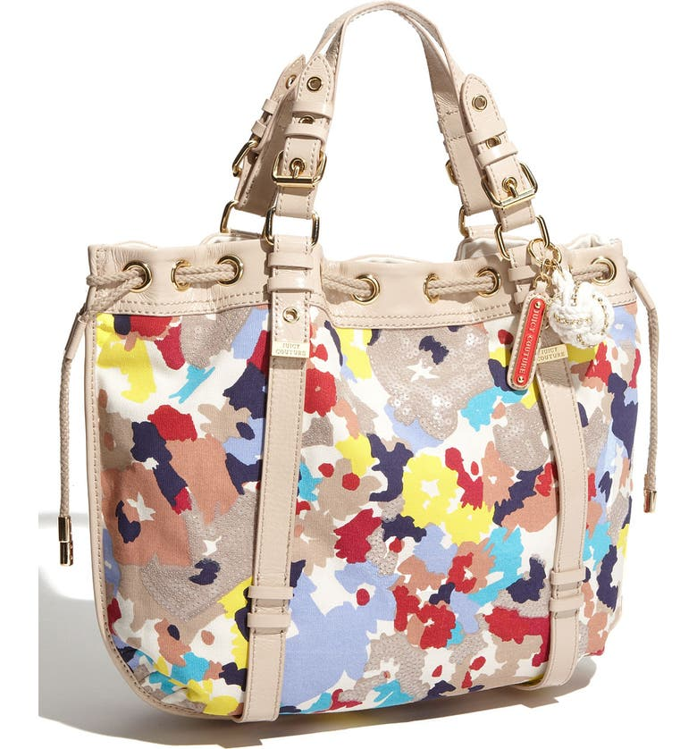 JUICY COUTURE 'Beverly' Floral Print Canvas Tote, Main, color, PALE TAUPE MULTI