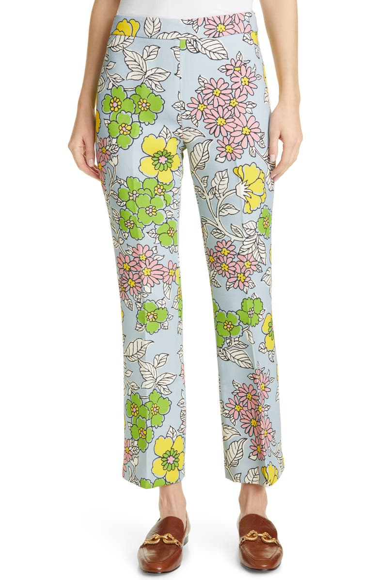 TORY BURCH Twill Crepe Ankle Pants, Main, color, BLUE WALLPAPER FLORAL