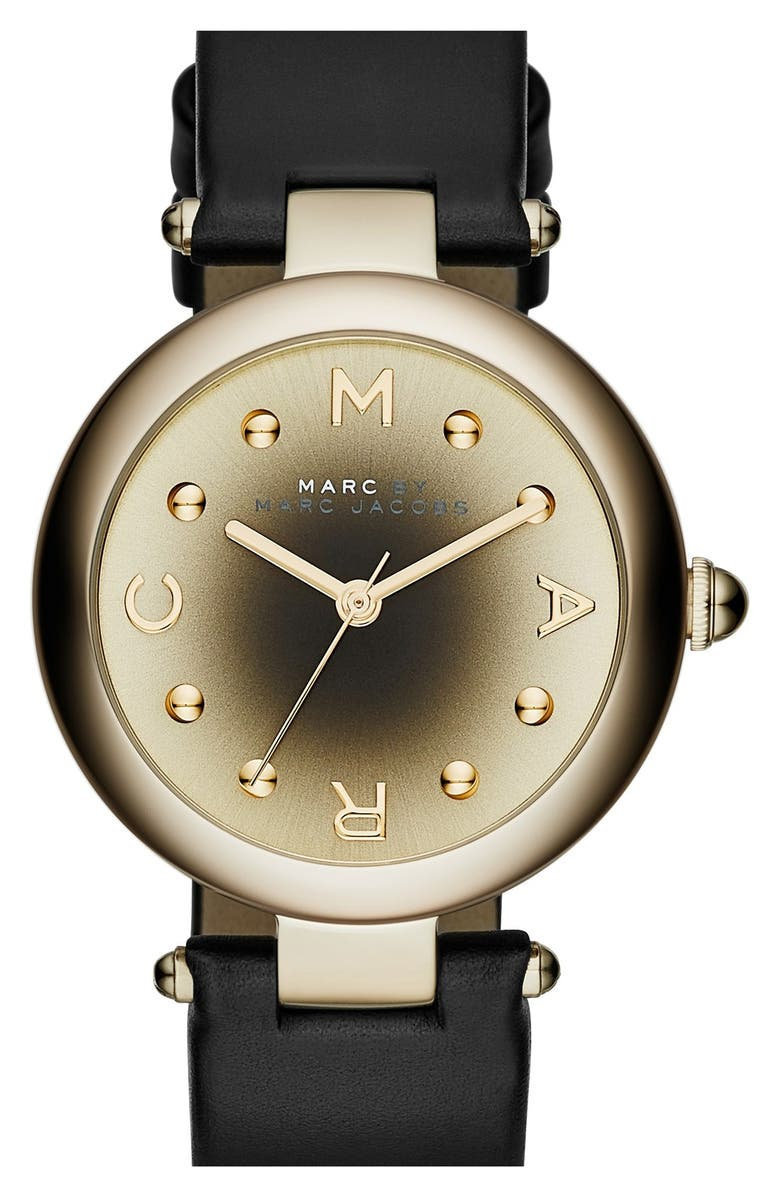 MARC JACOBS 'Dotty' Leather Strap Watch,34mm, Main, color, 001