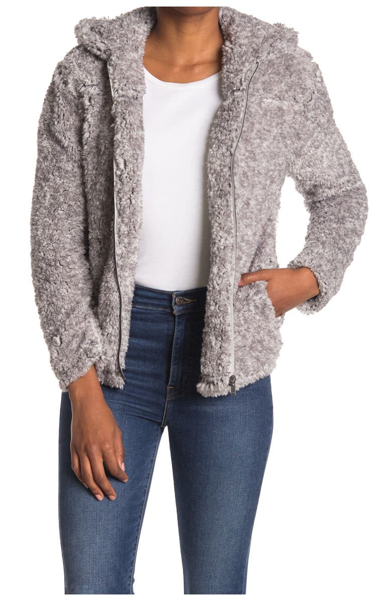 COFFEE SHOP Faux Fur Zip Hoodie, Main, color, FROSTED GREY