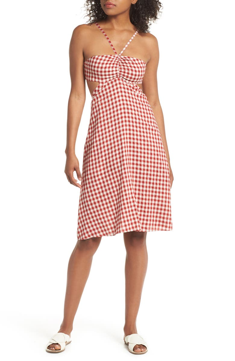 FIRST MONDAY Gingham Bandeau Dress, Main, color, 600
