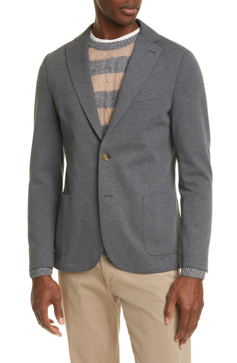 ELEVENTY Slim Fit Jersey Sport Coat, Main, color, DARK GREY
