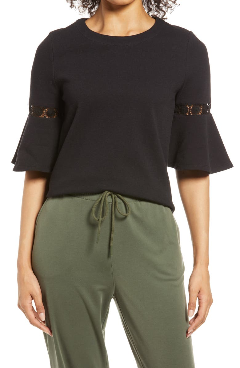 EVERLEIGH Lace Accent Bell Sleeve Cotton Blend Knit Top, Main, color, BLACK