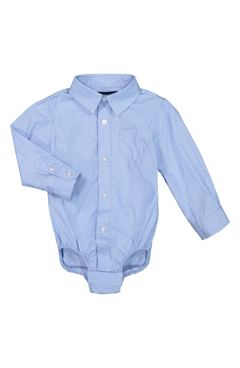 ANDY & EVAN Button-Up Long Sleeve Bodysuit, Main, color, Medium Blue