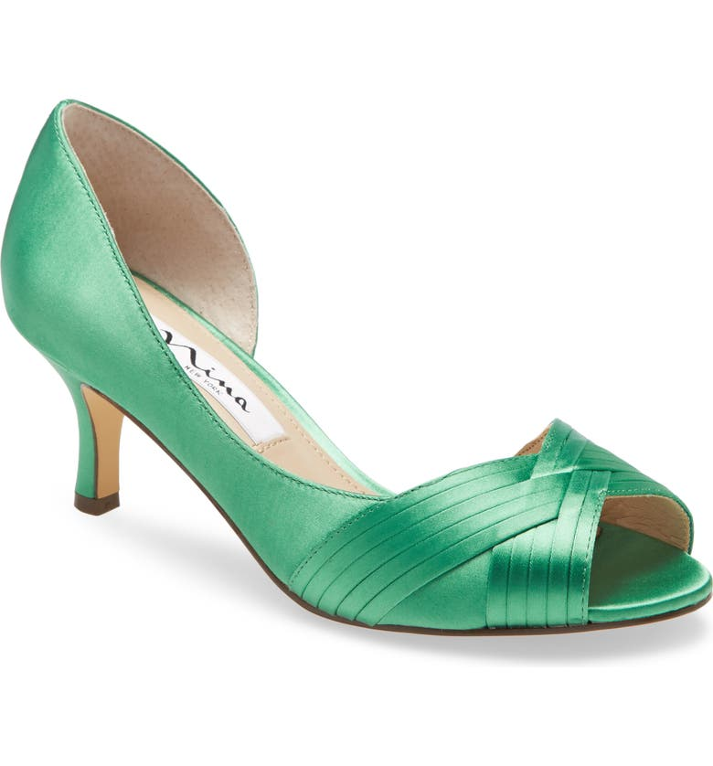 NINA Contesa Open Toe Pump, Main, color, GREEN SATIN