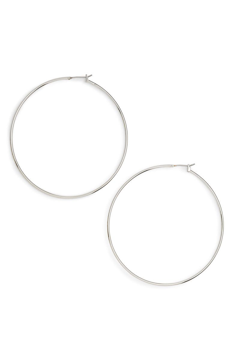 HALOGEN<SUP>®</SUP> Classic Thin Hoop Earrings, Main, color, RHODIUM